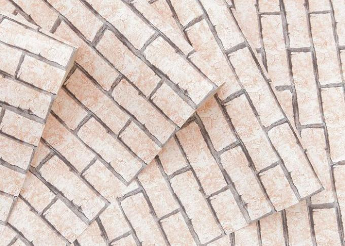 Kaki het effect van de kleuren 3d baksteen behang verwijderbaar voor woonkamer vinylmateriaal - Behang effect van materie ...