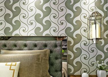 0.53*10m Fluweel Geweven Behang, Wit en Groen Fluweelbehang voor Huisdecoratie