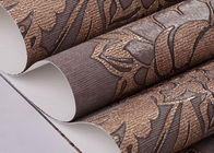 Brown Floral Pattern Washable Vinyl Wallpaper With Embossed Rustic Style