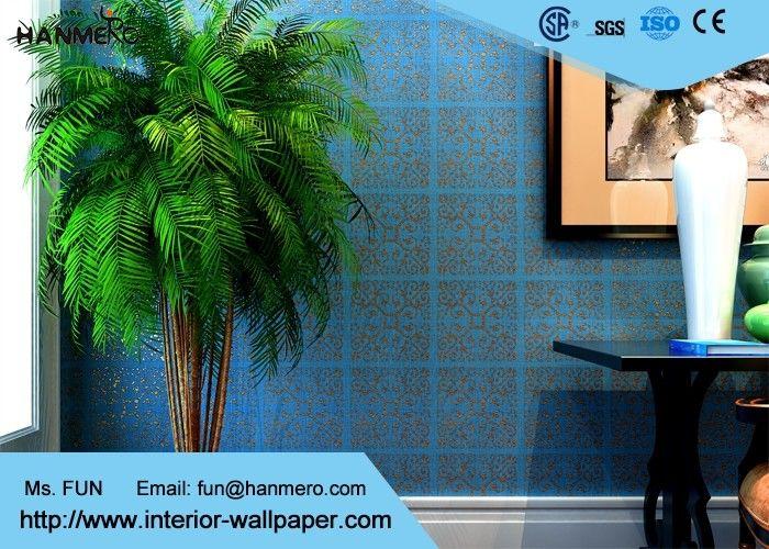 Hoog waaierblauw die het niet geweven document eigentijdse muur behandelen voor woonkamer bronzen - Eigentijdse muur ...