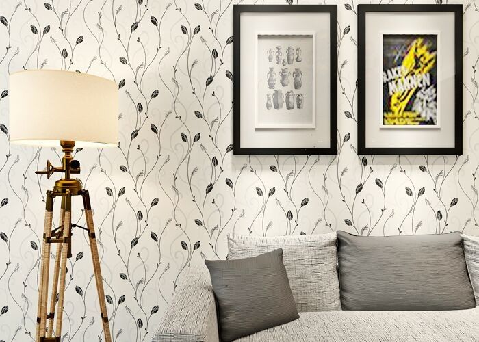 Leaf Pattern Embossed Vinyl Modern Removable Wallpaper Contemporary Wall Coverings