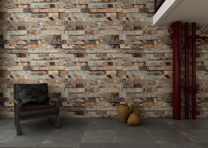 Eco Friendly 3D Brick Effect Wallpaper , Waterproof Vinyl Wall Covering Light Weight